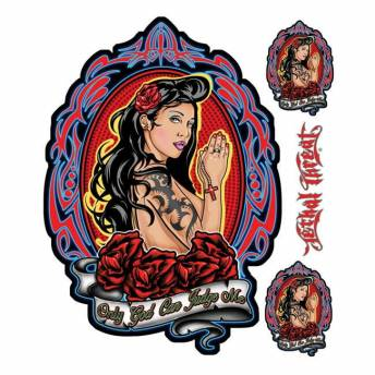 STICKER LETHAL THREAT JUDGE ME GIRL 15.24 x 20.32 CM
