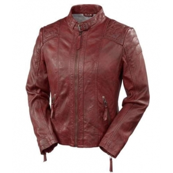 WOMEN CAFE RACER FASHION II RED JACKET